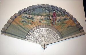 Intricate Hand Painted Antique Japanese Fan