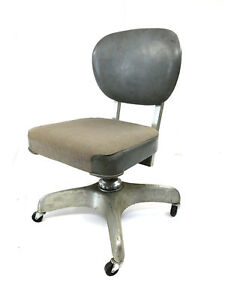 Vintage Industrial Chair Desk Office Swivel Tanker Mid Century Modern Loft Gray