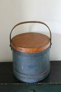 Large Primitive Antique Firkin Old Blue Paint