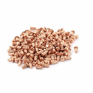 200 Pcs 1 8 X 1 4 Copper Round Head Solid Rivets Knurled Shanks