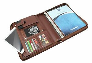 Padfolio Business Leather Portfolio Zippered Removable Binder Office Organizer