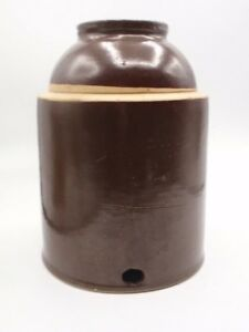 Vtg Antique Chicken Waterer Brown Glaze Pottery Crock Unknown Maker