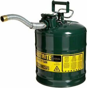 Big Gas Can Metal Steel Round For Large 5 Gal Gallon Five Gl Sturdy Tank Storage