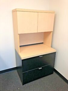 2 Drawer Lateral Size File Cabinet W hutch By Lacasse Office Furniture