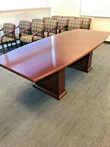 Boat Shape Conference Table By Ofs Office Furniture In Mahogany Wood 8ft L
