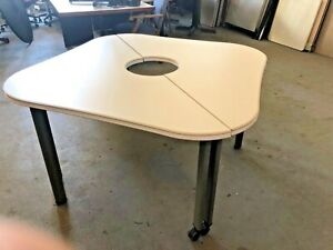 2 Piece 48 x48 Mobile Training Room Table By Steelcase Office Furniture