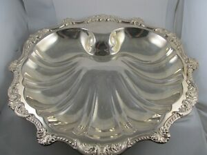 Poole Epca Clam Shape Silverplate 5927 Large 3 Footed Bowl 15 3 4 Wide Xlnt