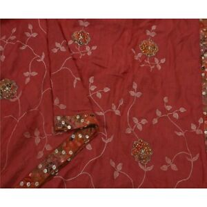 Tcw Saree 100 Pure Silk Hand Beaded Pink Fabric 5 Yd Craft Sari