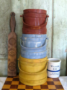 Top Of Stack 3 Primitive Vintage Painted Wood Firkin Buckets Yellow Blue Red Lot