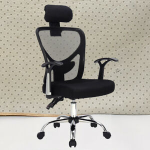 Ergonomic Mesh High Back Office Chair With Armrest And Adjustable Headrest Black
