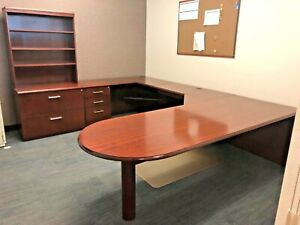 8 X 10 1 2 Executive Wood U shape Desk By Haworth Office Furniture W 2dr Lat