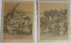 Antique Chinese Paintings On Silk Mounted On Paper