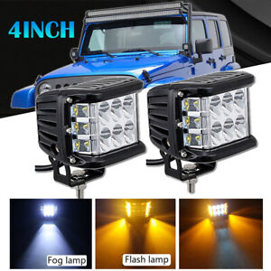 2pcs 4 Inch Led Work Light Bar White Amber Strobe Lamp For Truck Atv 4x4 Ute