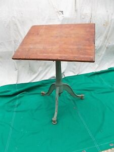 Antique Cast Iron Adjustable Base And Top Drafting Drawing Dining Table