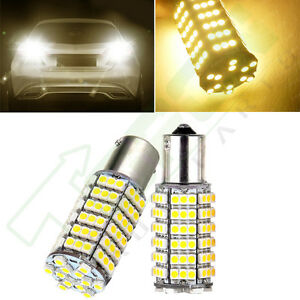 2x Warm White 1156 Ba15s Rv Trailer Backup Stop Led Light Bulbs 120smd 7503 1141