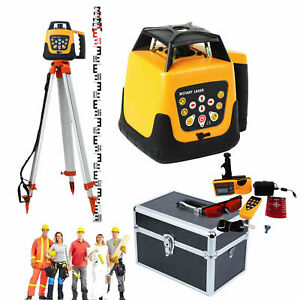 Self leveling 360 Rotary Laser Level Red Beam 500m Staff Tripod Googles Case