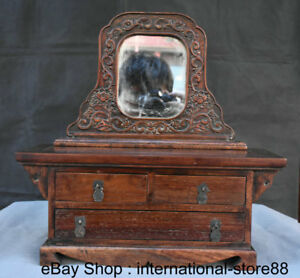 15 Old China Huang Huali Wood Carving Lady Drawer Small Dresser Table Mirror