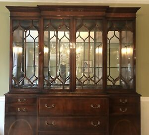 Stunning Antique Union National China Cabinet With Desk And Bowed Glass Doors