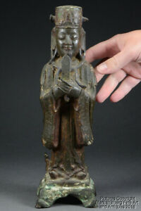 Chinese Bronze Standing Figure Of Court Official W Gui Scepter Ming Dynasty
