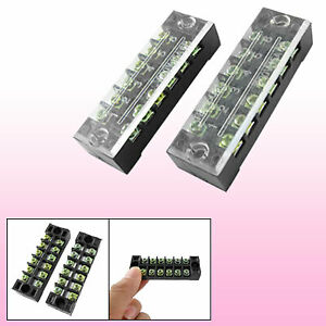 2 Pcs 6 Position Covered Screw Terminal Strip 600v 15a