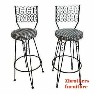 2 Vintage French Regency Scroll Iron Swivel Counter Bar Stools Arthur Umanoff Bb