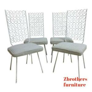 4 Mid Century Wrought Iron Outdoor Patio Dining Side Chair