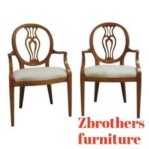 Pair Henredon French Pierce Carved Balloon Back Dining Room Arm Chairs