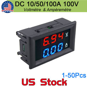Dual Voltage Tester Red Blue Led Digital Voltmeter Ammeter Dc 100v 10a