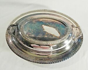 Vintage Wm Rogers Silver Plate Oval Covered Casserole Dish