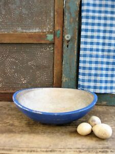 Early Antique Dough Bowl W Wide Rim Cupboard Blue Milk Paint Free Shipping