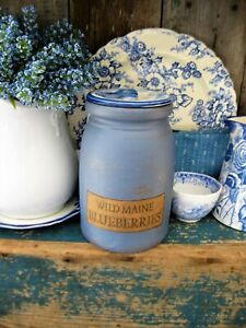 Early Antique Maine Blueberries Crock And Lid Blue Milk Paint Free Shipping