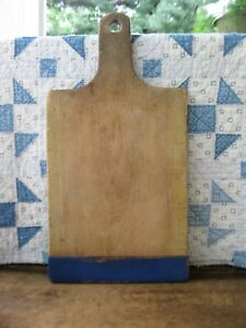 Antique French Breadboard With Bakers End Blue Milk Paint