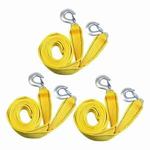 3 Pack 3 Tons Car Tow Cable Towing Strap Rope With Hooks Heavy Duty 6 Ft 3 Sets
