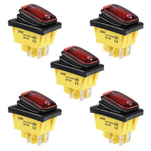 Boat Rocker Switch Red Led Waterproof Toggle Switch On off Ac dc 24v 15a 5pcs