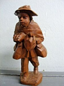 Vintage Asian Hand Carved Wood Figurine Bearded Man With Baggage 6 5 Wooden