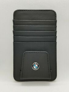 Bmw Logo Genuine Leather Sun Visor Sunglasses Card Pen Clip Holder Organizer