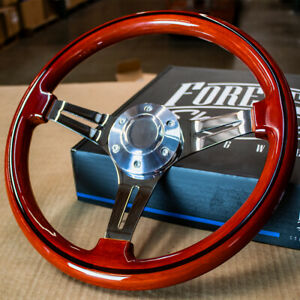 14 Inch Polished 6 Hole Steering Wheel With Vintage Wood Grip