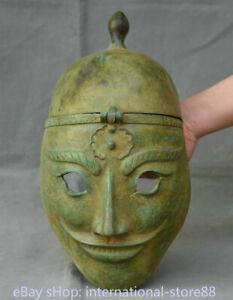13 2 Old Chinese Dynasty Bronze Ware Palace People Mask Persona Helmet Casque
