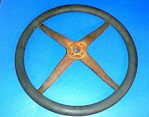 Antique Model T Ford 16 Hard Rubber Steering Wheel Iron Spider