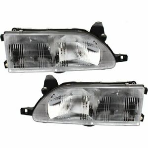 Halogen Headlight Set For 1993 1997 Toyota Corolla Left Right W Bulbs Pair