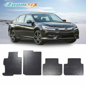 Fit 2013 2017 Honda Accord 4d Black All Weather Rubber Floor Mat Front Rear