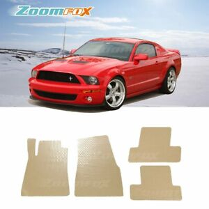 Fit 2005 2009 Ford Mustang Beige All Weather Floor Mats Liners Front Rear Set