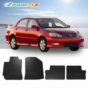 Fit 2003 2008 Toyota Corolla Black All Weather Floor Mats Liners Front Rear Set