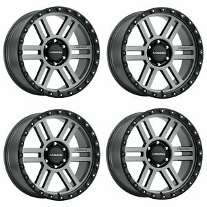 Set 4 17 Vision Off Road 354 Manx 2 Grey Wheels 17x9 5x4 5 12mm Truck Rims