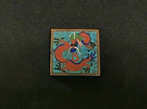 Antique Japanese Ojime Cloisonne Bead Pillbox Sagemono Square Shaped Super Rare