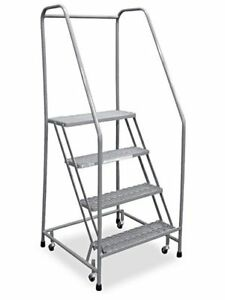 4 Step Rolling Safety Ladder Assembled With 10 Top Step