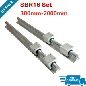 Sbr16 Linear Rail Guide Shaft Rod Fully Supported 300 2000mm 4x Sbr16uu Block