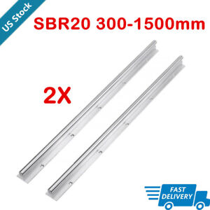 2x Sbr20 20mm Linear Rail Guide Slide Shaft Rod Fully Supported 300 1500mm Us