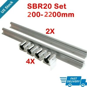 2x Sbr20 Linear Rail Guide Slide Shaft Rod 300 1500mm 4x Sbr20uu Block Us Stock