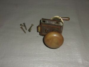 Vintage Door Knob Handle Latch W Plate